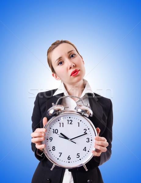 Nő üzletasszony óriás óra üzlet iroda Stock fotó © Elnur