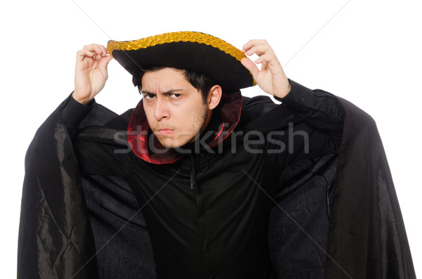 Young man wearing tricorn and coat isolated on white Stock photo © Elnur