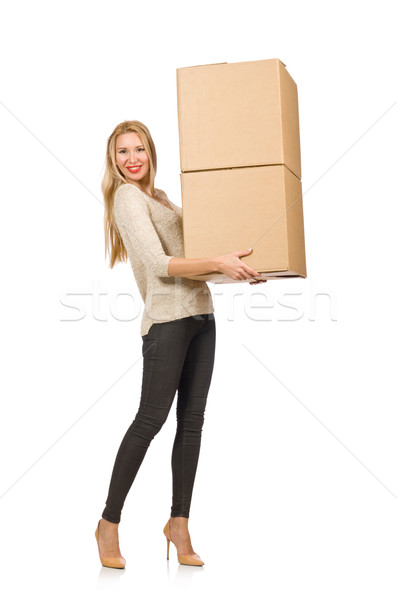 Woman with boxes relocating to new house isolated on white Stock photo © Elnur