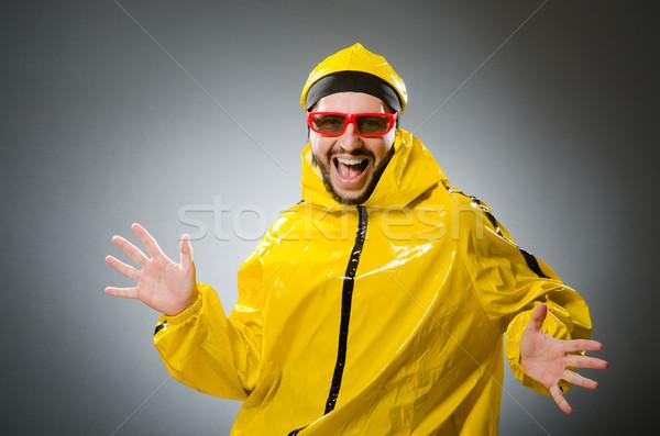 Grappig man Geel pak dansen Stockfoto © Elnur