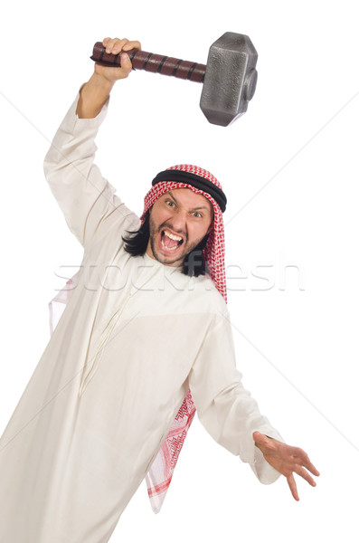 Angry arab man with hammer isolated on white Stock photo © Elnur