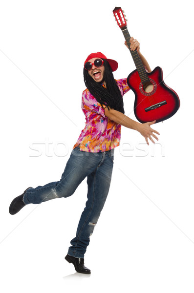 Stock photo: Male musician with guitar isolated on white