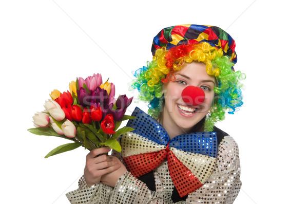 Stockfoto: Vrouwelijke · clown · geïsoleerd · witte · meisje · glimlach