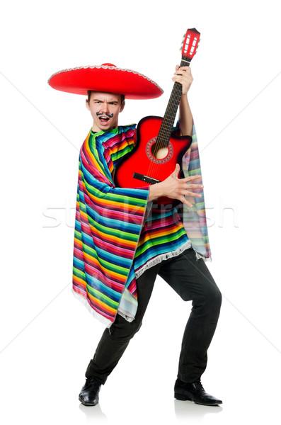 Grappig jonge Mexicaanse gitaar geïsoleerd witte Stockfoto © Elnur
