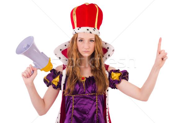 Bastante jovem rainha megafone isolado branco Foto stock © Elnur