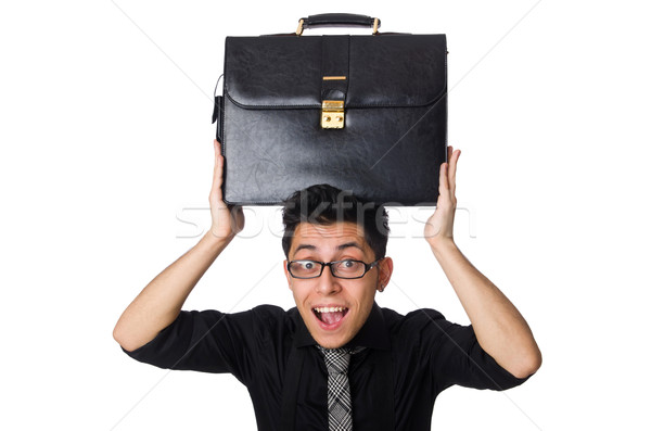 Young smiling employee with briefcase isolated on white Stock photo © Elnur