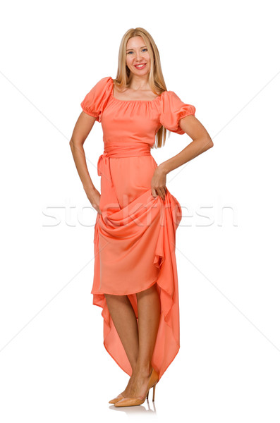 Young woman in pink romantic dress isolated on white Stock photo © Elnur