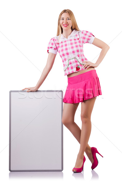 Blonde girl in pink with poster isolated on white Stock photo © Elnur