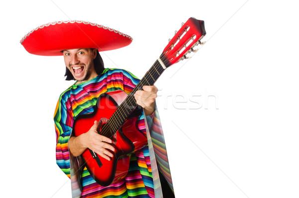 Foto stock: Mexicano · guitarra · isolado · branco