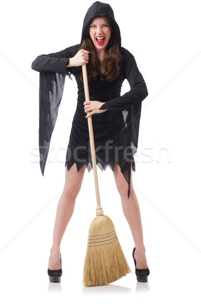 Woman with broom on white Stock photo © Elnur