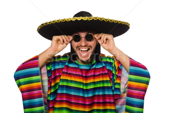 Knappe man levendig geïsoleerd witte man gelukkig Stockfoto © Elnur