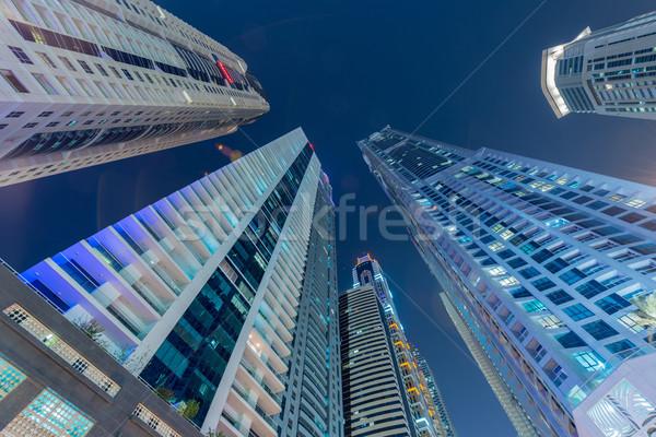 Wolkenkrabbers Dubai nacht business hemel gebouw Stockfoto © Elnur