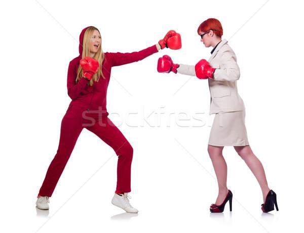 Suora boxing isolato bianco donna Foto d'archivio © Elnur