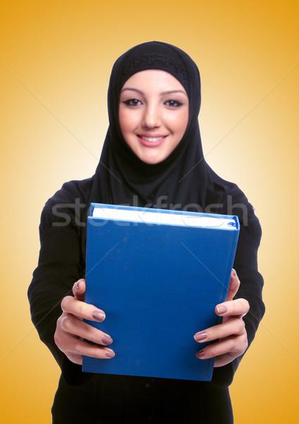 ストックフォト: 小さな · ムスリム · 女性 · 図書 · 白 · 幸せ