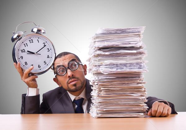 Сток-фото: женщину · деловая · женщина · гигант · будильник · часы · работу