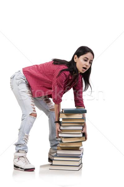 Jovem feminino estudante exames livros escolas Foto stock © Elnur