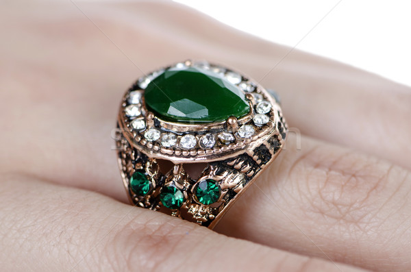 Jewellery ring worn on the finger Stock photo © Elnur