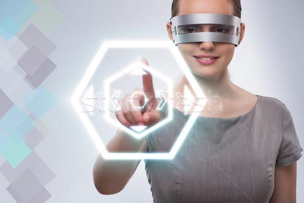 Techno menina virtual botões mulher Foto stock © Elnur