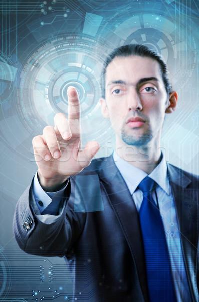 Stock fotó: üzletember · kisajtolás · virtuális · gombok · futurisztikus · számítógép