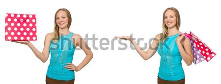 Nice attractive waitress isolated on the white Stock photo © Elnur