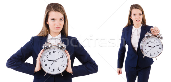The businesswoman with clock isolated on white Stock photo © Elnur