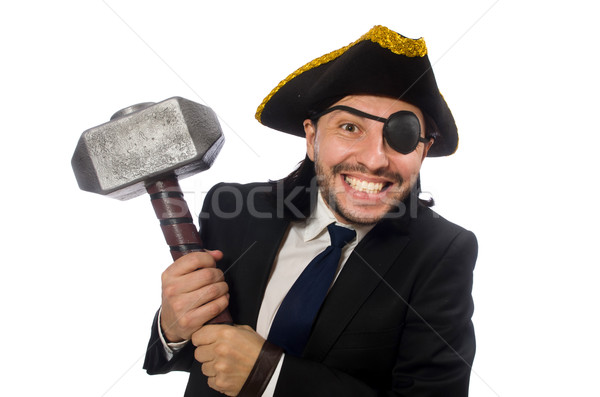 Stock photo: Pirate businessman holding hammer isolated on white