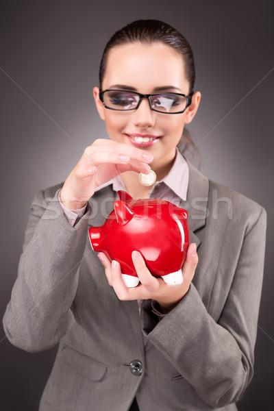 бизнеса деловая женщина Piggy Bank женщину фон безопасности Сток-фото © Elnur
