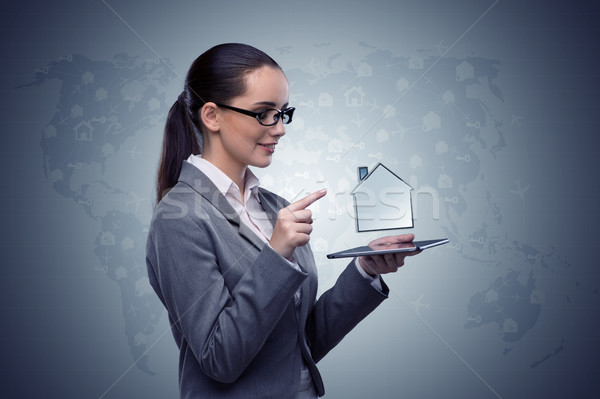 Woman in hotel booking concept Stock photo © Elnur