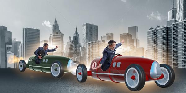 Verseny üzletemberek versenyző autók üzletember sebesség Stock fotó © Elnur