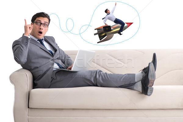 Zakenman start omhoog business reizen snelheid Stockfoto © Elnur