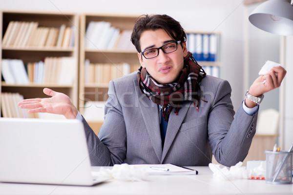Ziek ziek zakenman kantoor man gezondheid Stockfoto © Elnur