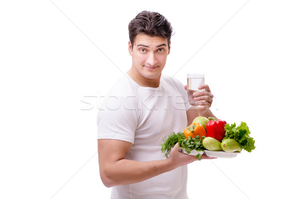 Férfi egészséges étkezés étel boldog üveg egészség Stock fotó © Elnur