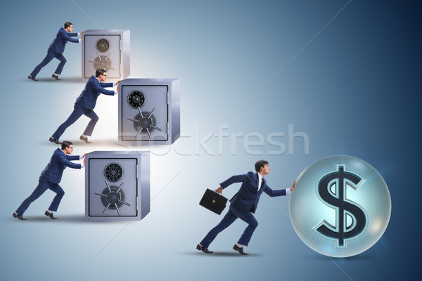 Businessman pushing dollar and beating competition Stock photo © Elnur