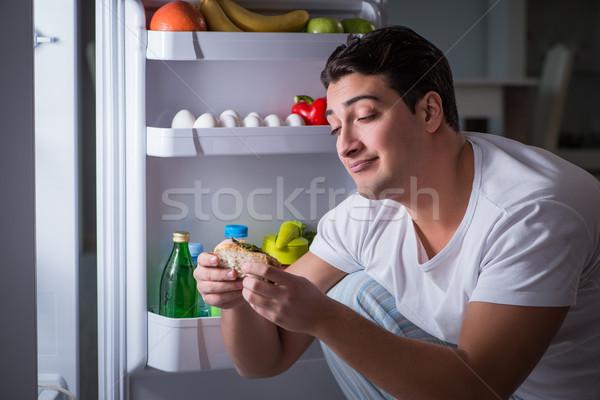 человека холодильник еды ночь дома продовольствие Сток-фото © Elnur