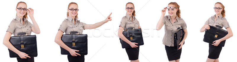 The pretty young employee with briefcase isolated on white Stock photo © Elnur