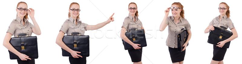 довольно молодые сотрудник портфель изолированный белый Сток-фото © Elnur