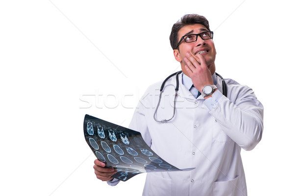 Сток-фото: молодые · мужской · доктор · изолированный · белый · компьютер