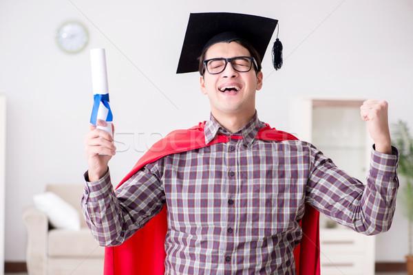 Szuperhős diák visel tábla sapka mosoly Stock fotó © Elnur