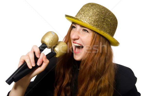 Funny mujer karaoke aislado blanco nina Foto stock © Elnur