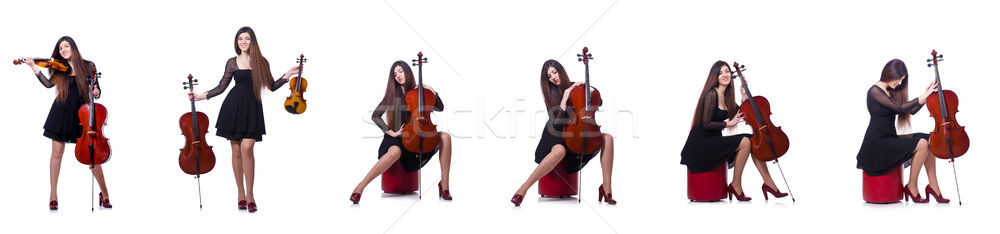 Young performer with violin on white Stock photo © Elnur