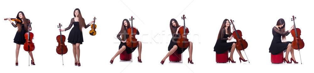 小さな パフォーマー バイオリン 白 背景 芸術 ストックフォト © Elnur