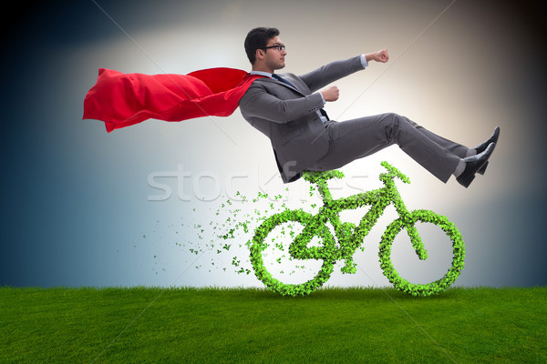Green bycycle in environmentally friendly transportation concept Stock photo © Elnur