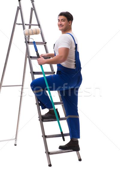 Fiatal festő beszállító izolált fehér építkezés Stock fotó © Elnur