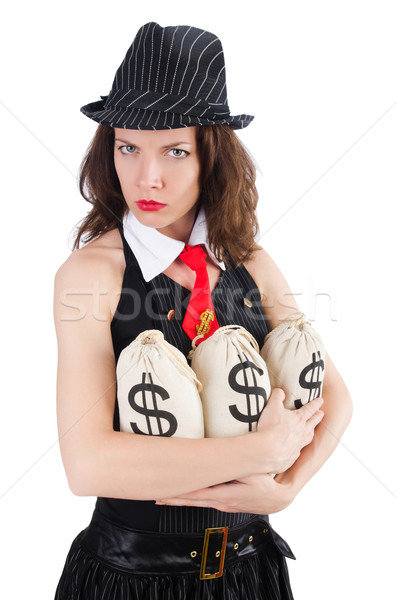 Woman gangster with money sacks on white Stock photo © Elnur