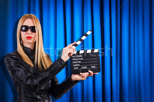 Lány film tábla függönyök buli divat Stock fotó © Elnur