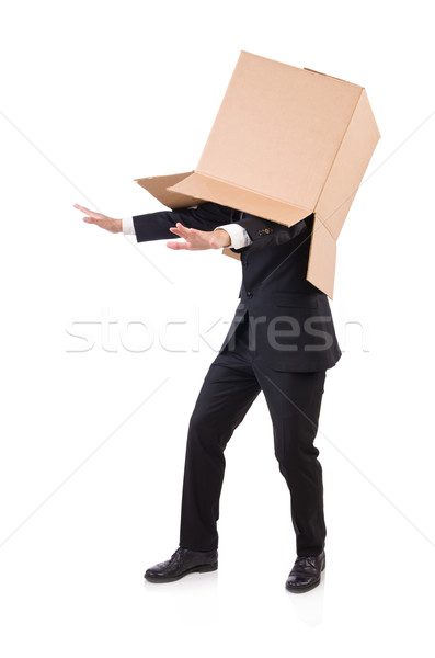 Stock photo: Man in thinking outside of the box concept