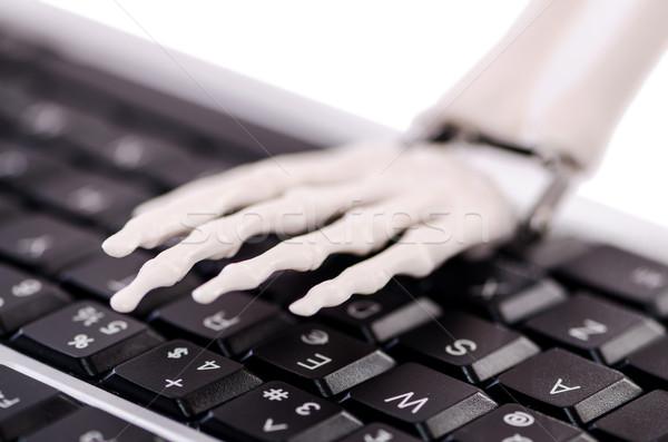 Stock fotó: Csontváz · dolgozik · billentyűzet · üzlet · férfi · laptop