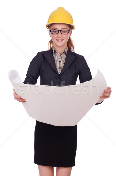 Young architect with drawings on white Stock photo © Elnur