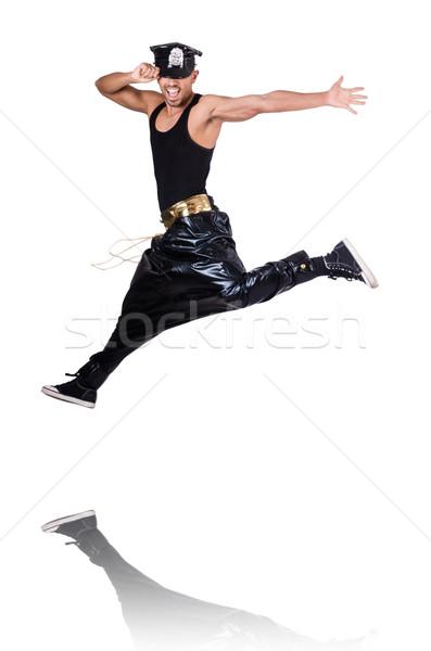 Rap danser breed pants witte man Stockfoto © Elnur