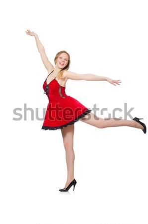 Kobieta taniec czerwona sukienka odizolowany biały sexy Zdjęcia stock © Elnur